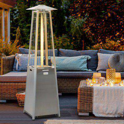 Outsunny 11.2KW Outdoor Patio Gas Heater Stainless Steel Pyramid Propane Heater Garden Freestanding Tower Heater with Wheels, Dust Cover, Silver