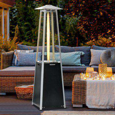 Outsunny 11.2KW Outdoor Patio Gas Heater Standing Pyramid Propane Heater Garden Tower Heater with Wheels, Dust Cover, Regulator and Hose, Black