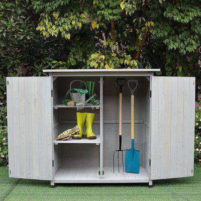 Outsunny 110L x 55W x 117Hcm Double Door Fir Wood Garden Shed