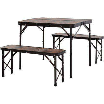 Outsunny MDF Height Adjustable Portable Picnic Dining Table Set