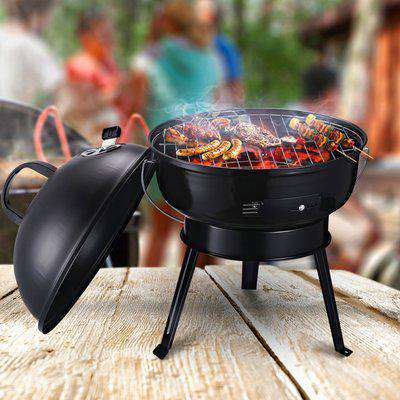 Outsunny Metal Portable Tripod Charcoal BBQ Grill Black