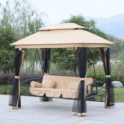 Outsunny 3-Seater Multi-Functional Swing Chair W/Mosquito Net-Beige