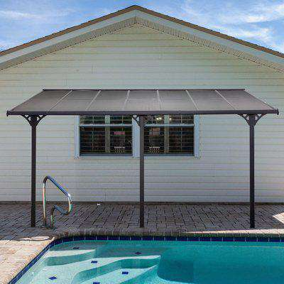 Outsunny Outdoor Patio Gazebo Pergola, Aluminum Post, 4.35 x 3 m PC Roof, Mounted on the Wall