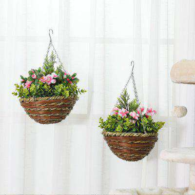 Outsunny Pack of 2 Artificial Lisianthus Flowers Hanging Planter with Basket for Indoor Outdoor Decoration