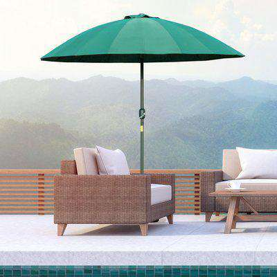 Outsunny Ф255cm Patio Parasol Umbrella Outdoor Market Table Parasol with Push Button Tilt Crank and Sturdy Ribs for Garden Lawn Backyard Pool Green