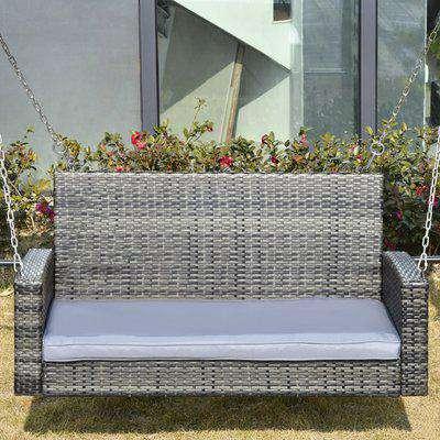Outsunny 2 Seater Patio Rattan Garden Swing Hanging Chair Garden Loveseat Bench w/ Cushion