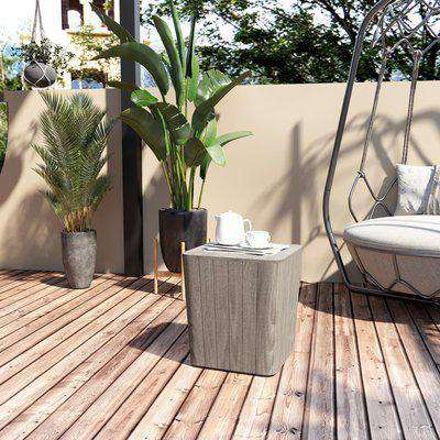 Outsunny Patio Wood Effect Coffee Table Storage Square Box Deck Box with Lift-Up Lid for Garden Outdoor Space 39L x 39W x 43H cm Grey