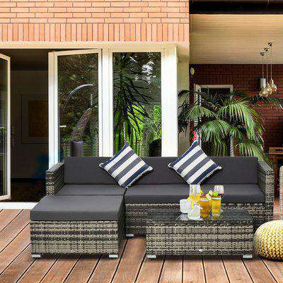 Outsunny 5PC Rattan Furniture Set Garden Sectional Wicker Sofa Glass Tepmpered Tea Table w/ Cushion Pillows