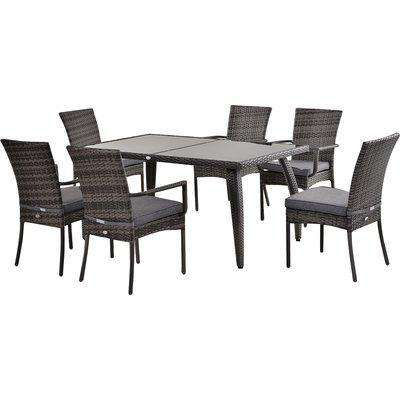 Outsunny 7 Pcs Garden Dining Set Steel Frame PE Rattan Wicker w/ 6 Chairs Large Table Glass Top Curved Legs Feet Pads Thick Cushions Grey