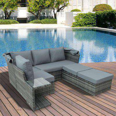 Outsunny 5 PCS Outdoor Garden Rattan Wicker Sofa Sets Adjustable Canopy & Side Table Dining Table Set Sectional Furniture w/ Cushions, Mixed Grey