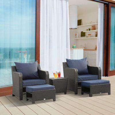 Outsunny 5pcs Outdoor Rattan Wicker Furniture Sofa Set w/ Storage Function Side Table & Ottoman for Patios, Garden, Backyard, Deep Coffee