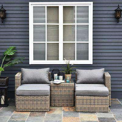 Outsunny 5 Pcs PE Rattan Armchair Outdoor Garden Seating Comfort Balcony Home Grey
