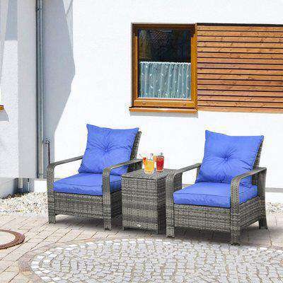 Outsunny 3 PCs PE Rattan Garden Furniture Patio Bistro Set 2 Wicker Chairs with Cushions and Coffee Table with Storage Outdoor Blue
