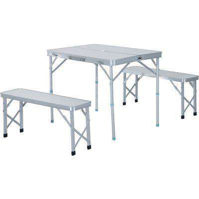 Outsunny 3 pcs Picnic Table Bench Set, Foldable, Aluminum Alloy