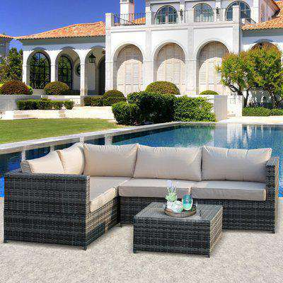 Outsunny 3Pcs Rattan Dining Sofa Set Table Garden Furniture Outdoor w/ Cushion Loveseat