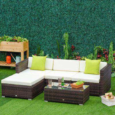 Outsunny 5 PCS Rattan Sofa Set-Brown