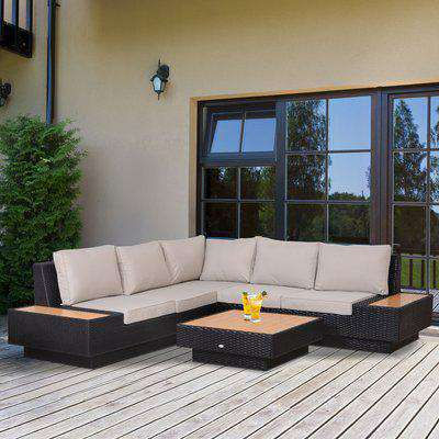 Outsunny 4Pcs Sectional Rattan Sofa Garden Furniture Set Coffee Table Chairs Loveseat Outdoor w/ Cushion Outdoor Patio