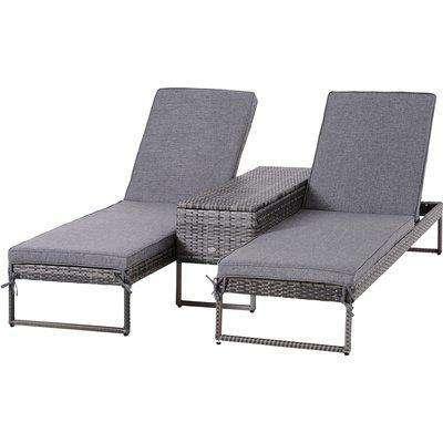 Outsunny PE Rattan 2-Seat Outdoor Garden Sun Lounger Set w/ Table Grey
