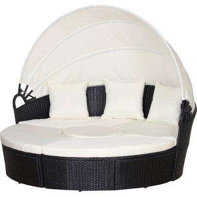 Outsunny PE Rattan 5-Piece Outdoor Garden Round Sofa w/ Canopy Black