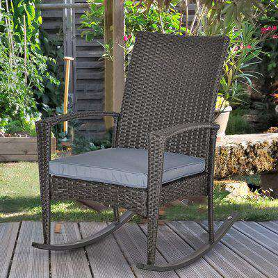 Outsunny PE Rattan Outdoor Garden Rocking Chair w/ Cushion Grey