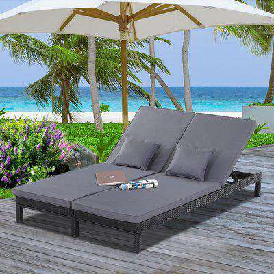 Outsunny 2 Person Rattan Lounger Wicker Adjustable Double Chaise Chair Loveseat w/ Cushions Black