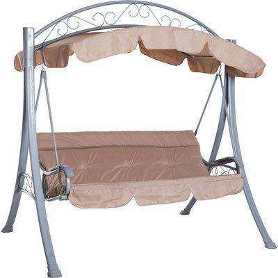 Outsunny 3-Person Swing Chair Patio Lounger Canopy Shelter Cushioned Seat Heavy Duty,Steel-Beige