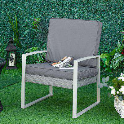 Outsunny 2 Piece Cushion 1 Seat Cushion 1 Back Pad for Rattan Sofa Chair, Indoor and Outdoor Use, Dark Grey