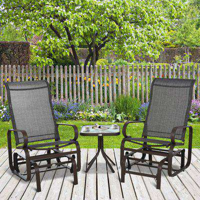 Outsunny 3 piece Outdoor Swing Chair with Tea Table Set, Patio Garden Rocking Furniture