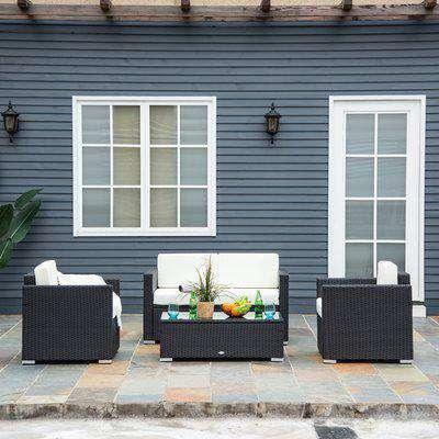 Outsunny 4 Pieces Rattan Sofa Set, Steel-Black
