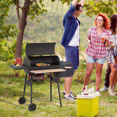 Outsunny Portable Charcoal BBQ Grill Steel Offset Smoker Combo Backyard
