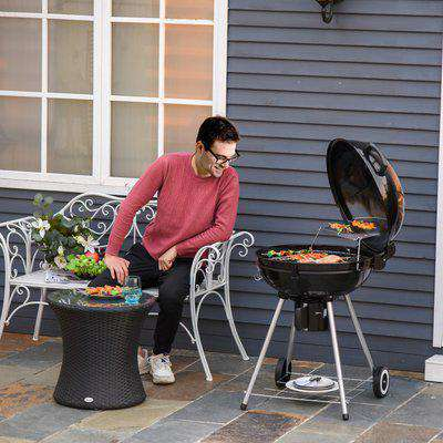 Outsunny Portable Kettle Charcoal BBQ Grill Outdoor Barbecue Picnic Party Camping w/ Wheels