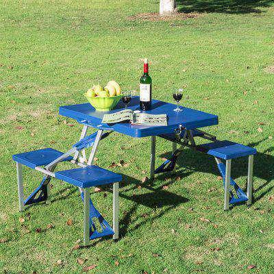 Outsunny Portable Picnic Table W/ Bench Set-Blue