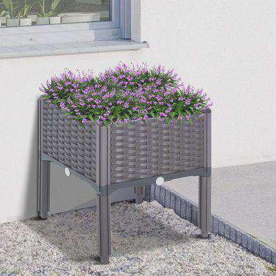 Outsunny PP Raised Outdoor Garden Planter Box Brown