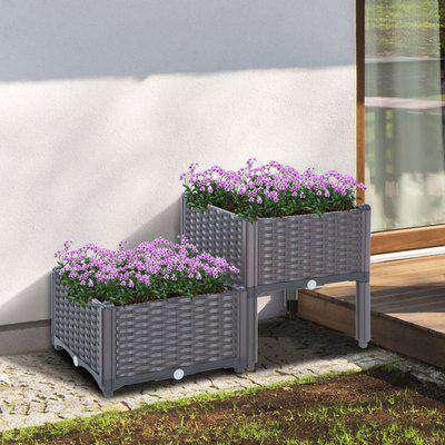 Outsunny PP Set Of 2 Raised Outdoor Garden Planter Box Brown