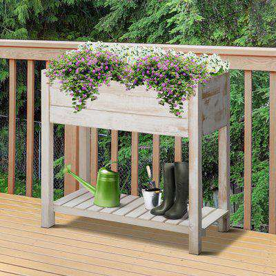 Outsunny Raised Garden Bed Elevated Wooden Planter Garden Grow Box with 2 tiers, 4 Pockets for Vegetable Flower Herb Gardening Backyard Patio, White