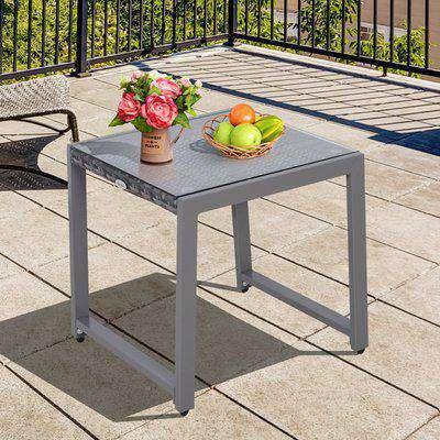 Outsunny Rattan End Table Side Coffee Desk Outdoor Patio Garden Furniture