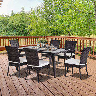 Outsunny Brown Rattan Garden Furniture Dining 7 pcs Set 6 Wicker Weave Chairs & Tempered Glass Top Table Seater W/ Cushion