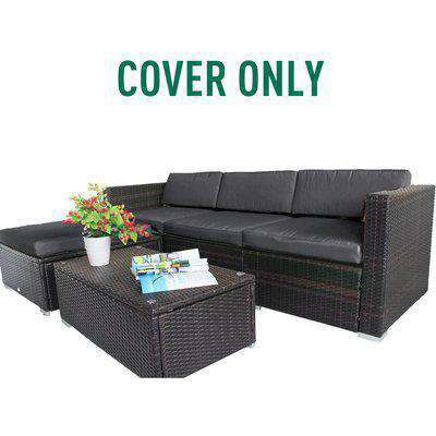 Outsunny Rattan Garden Wicker Patio Furniture Cushion Cover Sofa Cover Replacement - COVER ONLY, Grey