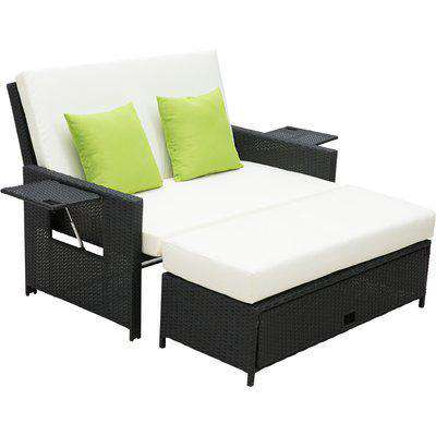 Outsunny Rattan 2-Seater Sofa Sun Lounger Bed-Black