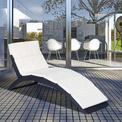 Outsunny Rattan Wicker Folding Sun Lounger-Black