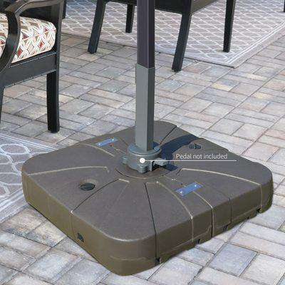 Outsunny Square Cantilever Patio Umbrella Base Water or Sand Filled with Wheels Crossbar Heavy-Duty Umbrella Stand