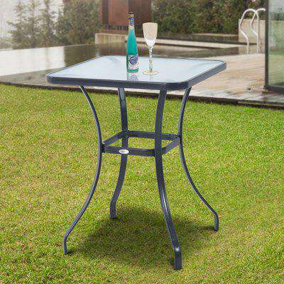 Outsunny Square Glass Bistro Table, 68.5Lx68.5Wx84H cm