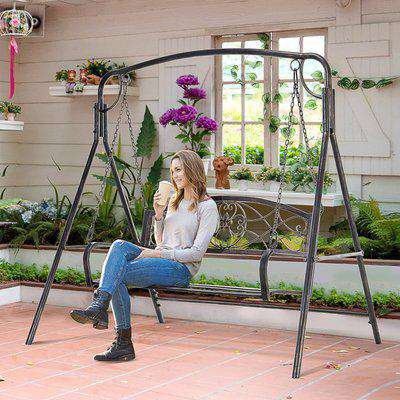 Outsunny Steel 2-Seater Outdoor Garden Swing Chair Bronze