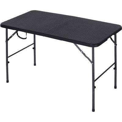 Outsunny Steel Frame 4ft Portable Folding Picnic Table Black