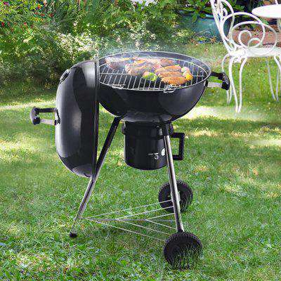 Outsunny Steel Freestanding Charcoal BBQ Grill w/ Wheels Black