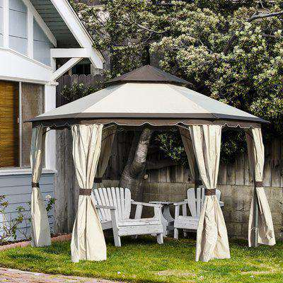 Outsunny 3.4m Steel Gazebo Canopy Party Tent Garden Pavilion Patio Shelter with Curtains & 2 Tier Roof, Beige