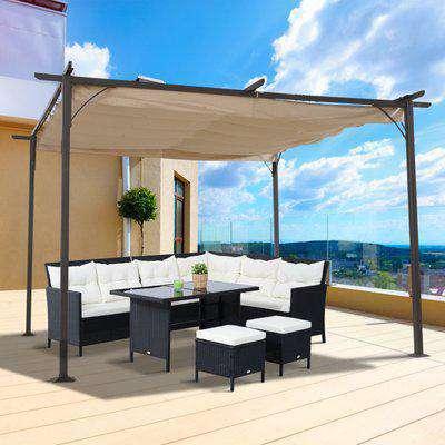 Outsunny Steel Pergola Gazebo Backyard Porch Awning Retractable Canopy Outdoor