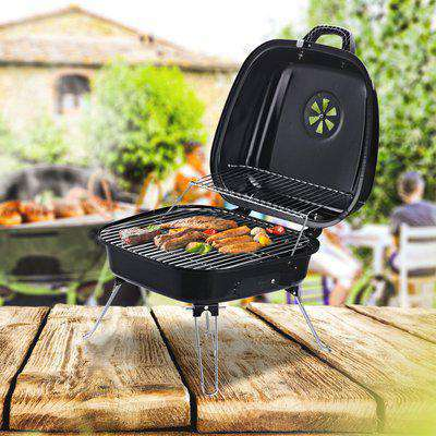 Outsunny Steel Portable Charcoal BBQ Iron Grill w/ Grid Black