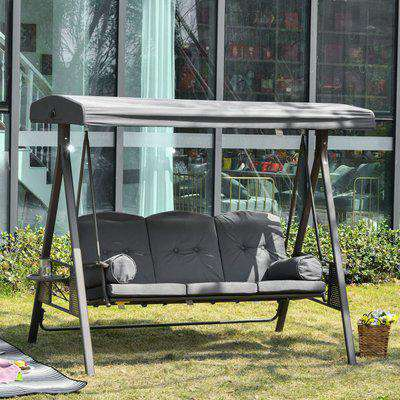 Outsunny Steel Swing Chair Hammock Garden 3 Seater Canopy w/ Cushions Shelter Outdoor Bench Grey Patio
