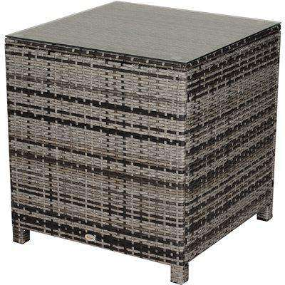 Outsunny Tempered Glass Top Outdoor Garden Rattan Side Table Grey